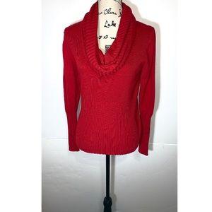 Carmen Marc Valvo Ribbed Cowl Neck Sweater